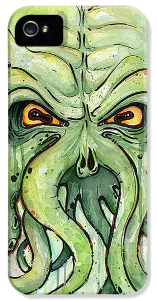 Horror iPhone 5 Cases - Cthulhu Watercolor iPhone 5 Case by Olga Shvartsur