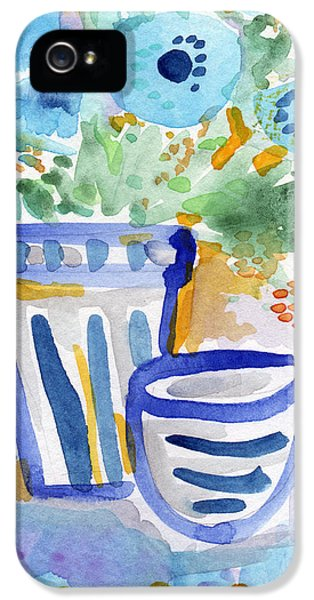 House Art iPhone 5 Cases - Cups and Flowers-  watercolor floral painting iPhone 5 Case by Linda Woods