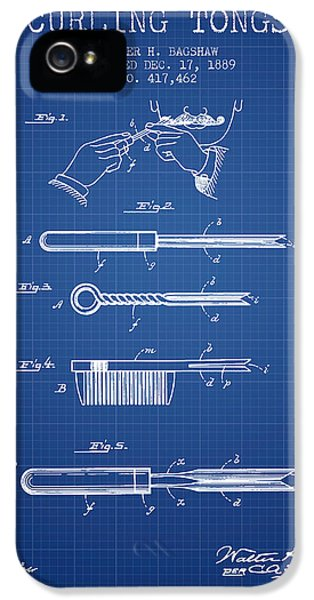 Blueprint iPhone 5 Cases - Curling Tongs patent from 1889 - Blueprint iPhone 5 Case by Aged Pixel