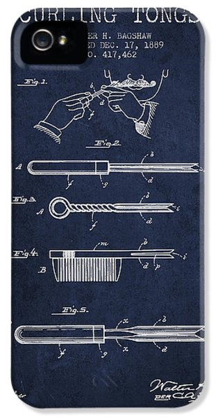 Blueprint iPhone 5 Cases - Curling Tongs patent from 1889 - Navy Blue iPhone 5 Case by Aged Pixel