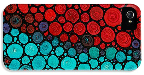 Mosaic iPhone 5 Cases - Currents - Red Aqua Art by Sharon Cummings iPhone 5 Case by Sharon Cummings