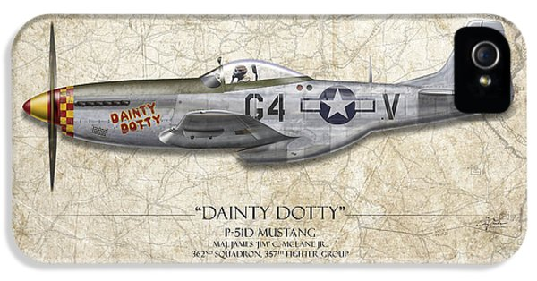 Kits iPhone 5 Cases - Dainty Dotty P-51D Mustang - Map Background iPhone 5 Case by Craig Tinder