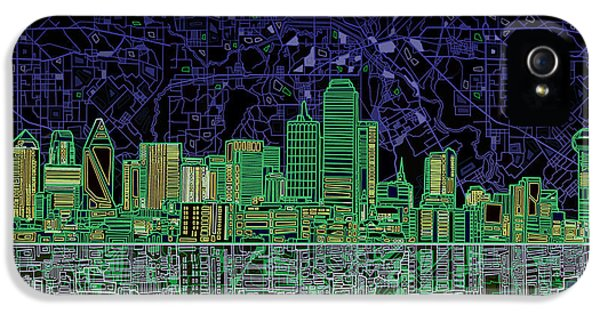 Dallas Skyline Abstract 4 IPhone 5 / 5s Case by Bekim Art