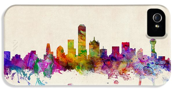 Texas iPhone 5 Cases - Dallas Texas Skyline iPhone 5 Case by Michael Tompsett