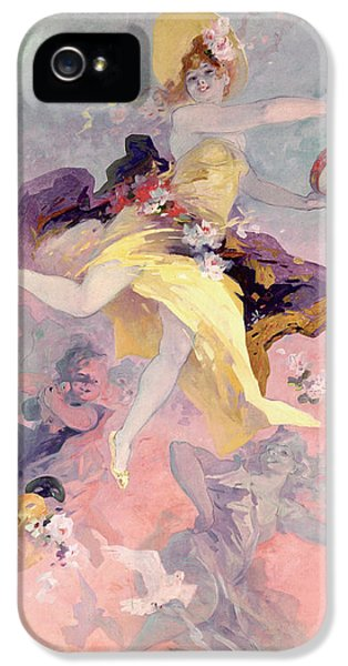 Dove iPhone 5 Cases - Dancer with a Basque Tambourine iPhone 5 Case by Jules Cheret