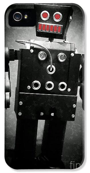 Robot iPhone 5 Cases - Dark Metal Robot Oil iPhone 5 Case by Edward Fielding