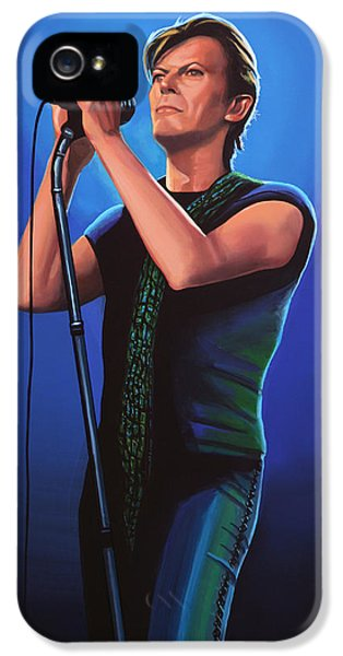 Rock Art iPhone 5 Cases - David Bowie 2  iPhone 5 Case by Paul Meijering