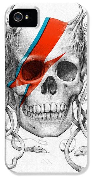 Pencil Drawing iPhone 5 Cases - David Bowie Aladdin Sane Medusa Skull iPhone 5 Case by Olga Shvartsur