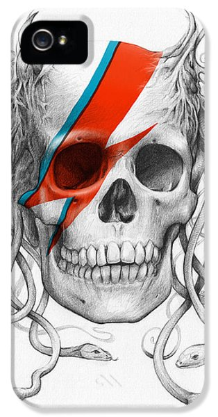 Scary iPhone 5 Cases - David Bowie Aladdin Sane Medusa Skull iPhone 5 Case by Olga Shvartsur