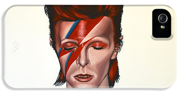 Rock Art iPhone 5 Cases - David Bowie Aladdin Sane iPhone 5 Case by Paul  Meijering