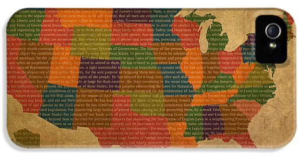 Declaration iPhone 5 Cases - Declaration of Independence Word Map of The United States of America iPhone 5 Case by Design Turnpike
