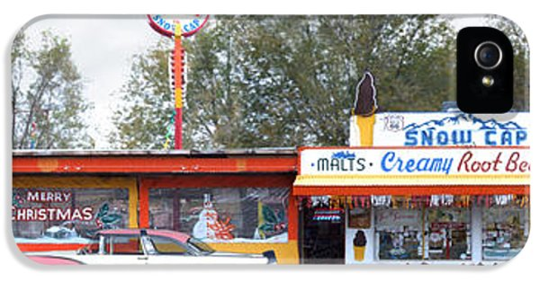 Drive iPhone 5 Cases - DELGADILLOS SNOW CAP DRIVE-IN on Route 66 Panoramic iPhone 5 Case by Mike McGlothlen
