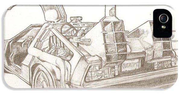 Michael J Fox iPhone 5 Cases - Delorean drawing iPhone 5 Case by Robert Crandall