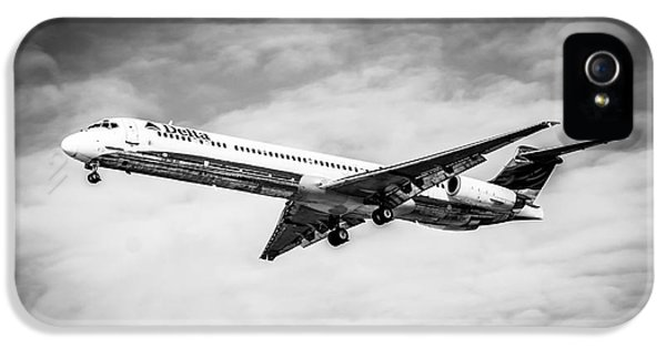 Mcdonnell Douglas iPhone 5 Cases - Delta Air Lines Airplane in Black and White iPhone 5 Case by Paul Velgos