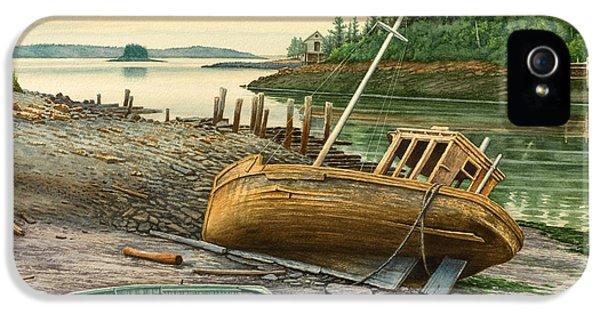 Harbor iPhone 5 Cases - Derelict Boat iPhone 5 Case by Paul Krapf
