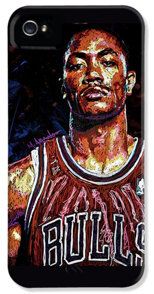 Nba iPhone 5 Cases - Derrick Rose-2 iPhone 5 Case by Maria Arango