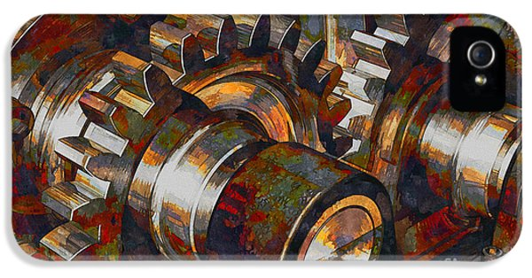 Admin Prints iPhone 5 Cases - Designer Pumpjack Macro V6 Watercolor - 06092014 iPhone 5 Case by Michael C Geraghty
