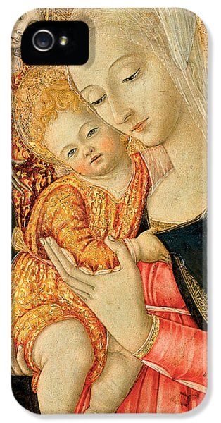 Happy Jesus iPhone 5 Cases - Detail of Madonna and Child with angels iPhone 5 Case by Matteo di Giovanni di Bartolo