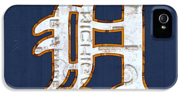 Road iPhone 5 Cases - Detroit Tigers Baseball Old English D Logo License Plate Art iPhone 5 Case by Design Turnpike