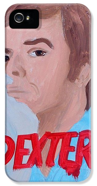 Dexter Morgan iPhone 5 Cases - Dexter with Hand iPhone 5 Case by Marisela Mungia