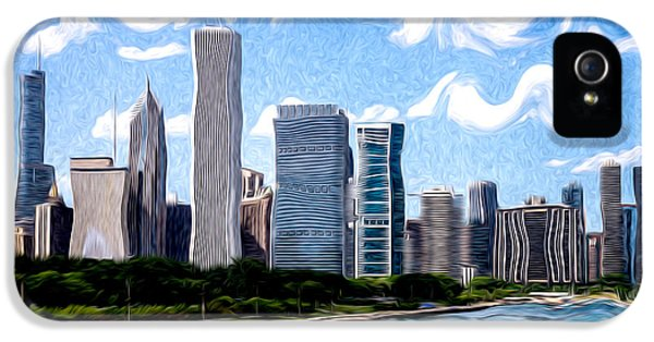 One Prudential Plaza Building iPhone 5 Cases - Digitial Painting of Downtown Chicago Skyline iPhone 5 Case by Paul Velgos