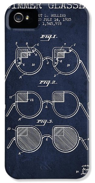 Protection iPhone 5 Cases - Dimmer Glasses Patent from 1925 - Navy Blue iPhone 5 Case by Aged Pixel