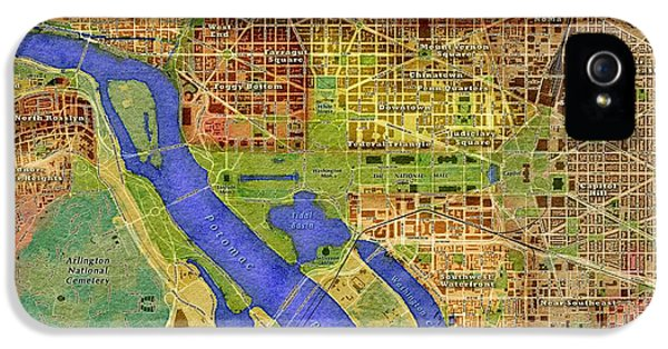 District Columbia iPhone 5 Cases - District of Columbia Map iPhone 5 Case by Paul Hein