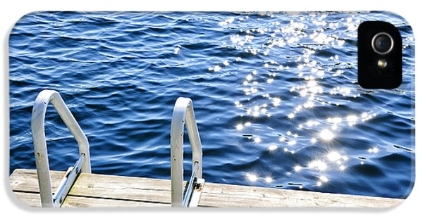Ladder iPhone 5 Cases - Dock on summer lake with sparkling water iPhone 5 Case by Elena Elisseeva