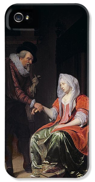 Medicine iPhone 5 Cases - Doctor Taking A Young Womans Pulse iPhone 5 Case by Michiel van Musscher