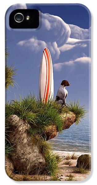 Tubular iPhone 5 Cases - Dog and Surfboard iPhone 5 Case by Daniel Eskridge