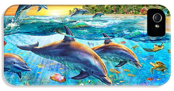 Puzzles iPhone 5 Cases - Dolphin Bay iPhone 5 Case by Adrian Chesterman