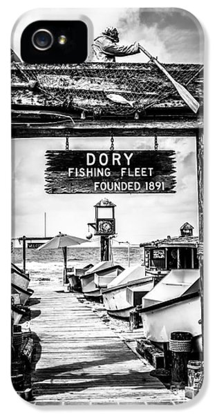 Newport Beach iPhone 5 Cases - Dory Fishing Fleet Market Black and White Picture iPhone 5 Case by Paul Velgos