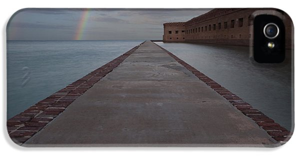 Connections iPhone 5 Cases - Double Rainbow over Fort Jefferson iPhone 5 Case by Keith Kapple