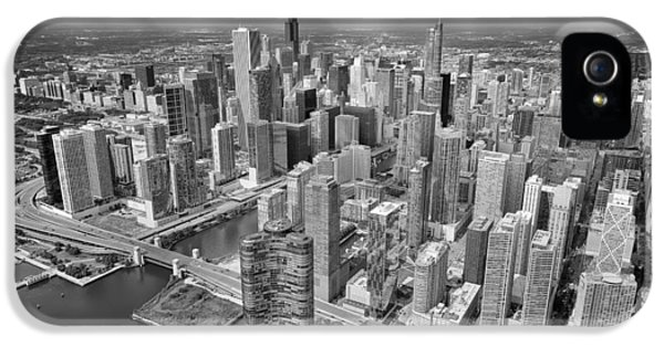 Downtown Chicago Aerial Black And White IPhone 5 / 5s Case by Adam Romanowicz