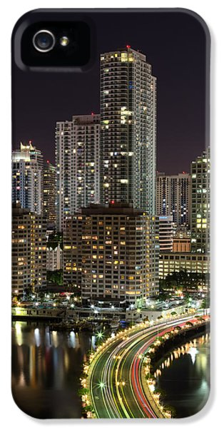 Night iPhone 5 Cases - Downtown Miami from Brickell Key iPhone 5 Case by Andres Leon
