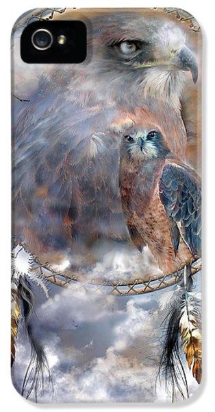 Hawk iPhone 5 Cases - Dream Catcher - Hawk Spirit iPhone 5 Case by Carol Cavalaris