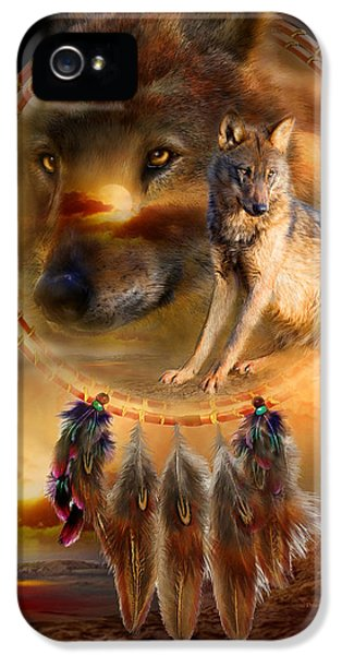 Native American iPhone 5 Cases - Dream Catcher - WolfLand iPhone 5 Case by Carol Cavalaris