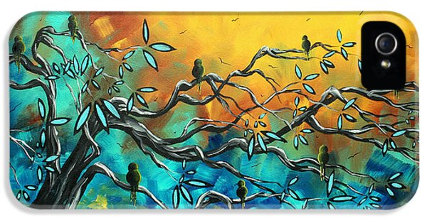 Whimsy iPhone 5 Cases - Dream Watchers Original abstract Bird Painting iPhone 5 Case by Megan Duncanson