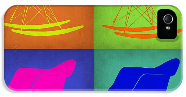 Stool iPhone 5 Cases - Eames Rocking Chair Pop Art 1 iPhone 5 Case by Naxart Studio