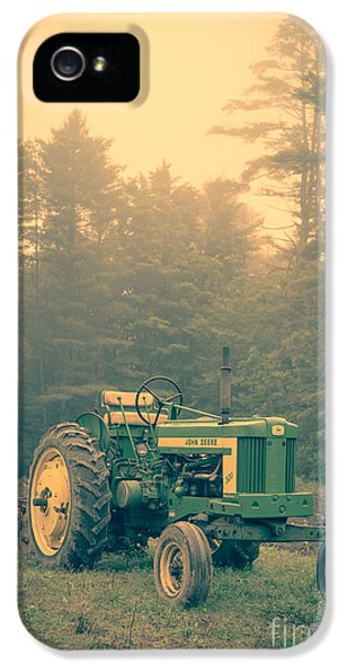 Tractor iPhone 5 Cases - Early morning tractor in farm field iPhone 5 Case by Edward Fielding