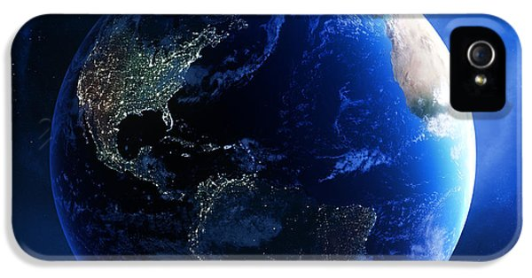 Earth iPhone 5 Cases - Earth and galaxy with city lights iPhone 5 Case by Johan Swanepoel