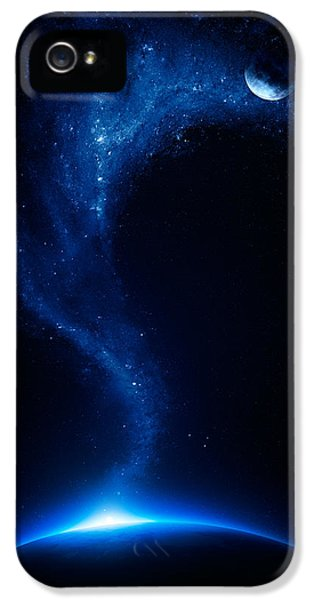 Earth iPhone 5 Cases - Earth and moon interconnected iPhone 5 Case by Johan Swanepoel
