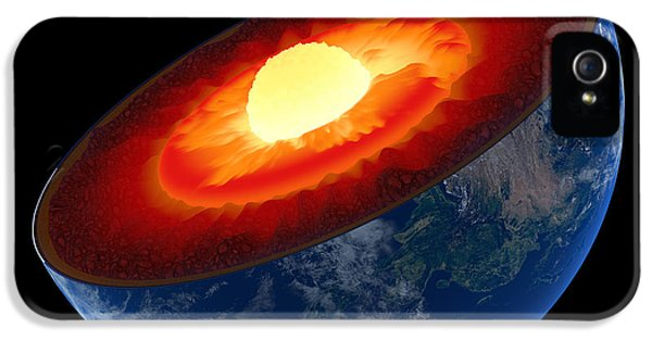 Burn iPhone 5 Cases - Earth core structure to scale - isolated iPhone 5 Case by Johan Swanepoel