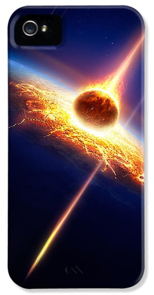 Earth iPhone 5 Cases - Earth in a  meteor shower iPhone 5 Case by Johan Swanepoel