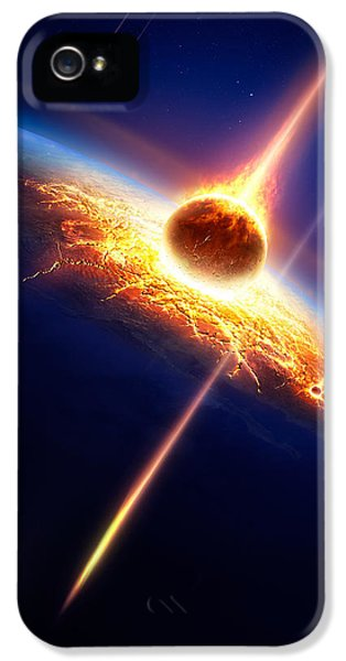 Earth In A  Meteor Shower IPhone 5 / 5s Case by Johan Swanepoel
