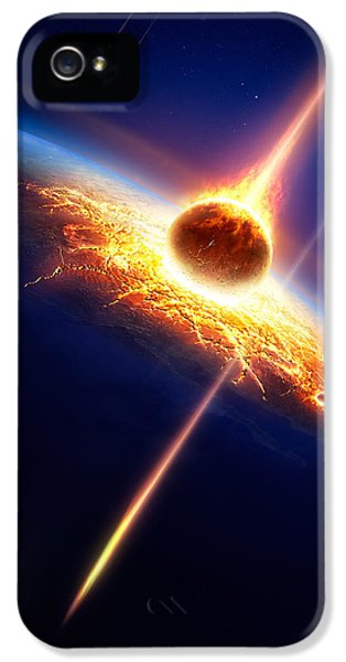 Apocalypse iPhone 5 Cases - Earth in a  meteor shower iPhone 5 Case by Johan Swanepoel