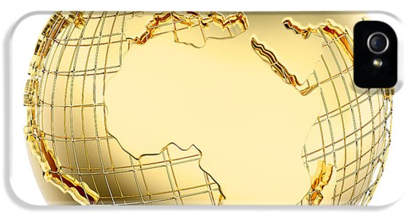 Reflective iPhone 5 Cases - Earth in Gold Metal isolated - Africa iPhone 5 Case by Johan Swanepoel