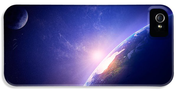 Earth iPhone 5 Cases - Earth sunrise in foggy space iPhone 5 Case by Johan Swanepoel