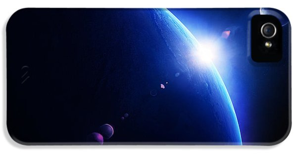 Earth iPhone 5 Cases - Earth sunrise with moon in space iPhone 5 Case by Johan Swanepoel
