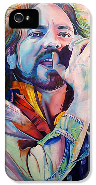 Rock Art iPhone 5 Cases - Eddie Vedder in Pink and Blue iPhone 5 Case by Joshua Morton